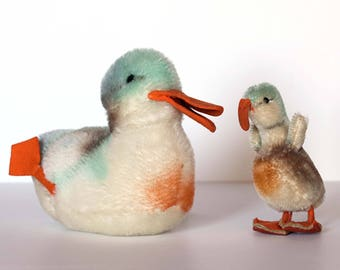 Steiff Mallard Duck Pair - Mama & Baby Duck - Steiff Germany Duckling - Stuffed Mohair Duck - 1960s Plush Mohair - Swimming Duck - Quackers