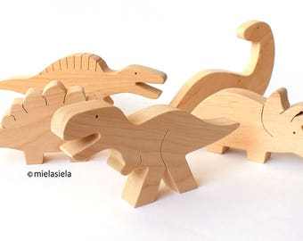 Handmade natural wooden toy - Dinosaur toy - Educational toys - Montessori preschool toy
