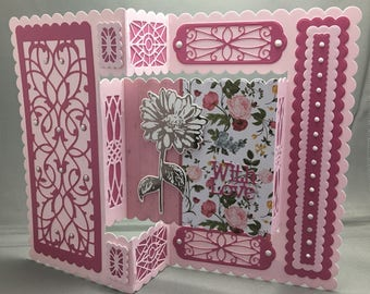 A Hot-Foiled Daisy, Intricately Die-Cut Patterned, Tri-Fold With Love Card