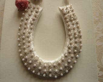 Small Ivory Horseshoe with Sequins