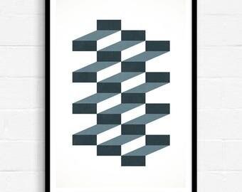 Art Print Abstract, Modern Abstract Art, Geometric Wall Art, Large Abstract Art, Geometric Pattern, 3d Geometric Art, Contemporary Art, UK