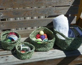 3 strand soft crocheted baskets