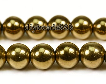 Gold  Hematite, smooth round beads, gemstone, Loose Beads, Gold, Grade AA, One strand, 15inches, 2mm 3mm 4mm  6mm 8mm 10mm  12mm for choose