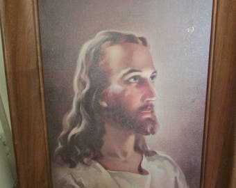 Vintage Portrait of Jesus Christ - incredible eyes looking to God His Father