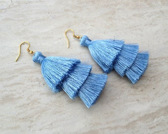 Sky Silk Tassel Earrings Layered Pastal Blue Tassle Earrings Tassel Drop Earrings Statement Earrings Summer Jewelry Tassel Fringe Earrings