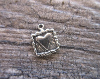 Sterling Silver 925 Artisan style heart charm oxidized finish 11mm x 14mm boho chic Made in the USA bracelet charm H122