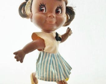 """ON SALE Vintage 1967 Dakin & Co. Twinkie Doll, Black Doll, 7"""" Tall, Made In Japan, Original Clothes, Shoes, Underwear, Tagged, Collectible,"""