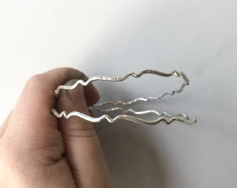 Sterling Silver Bangle Bracelet - Handcrafted Wave Bangle - Hammered or Smooth Texture - Great for Stacking - Made in the USA - Minimalist