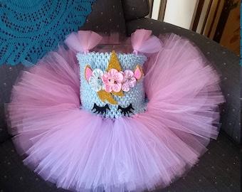 Lavender, Pink, Blue Unicorn Costume Flower Girl Tutu Dress