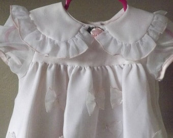 Infant Baby Girls Soft Pink Bow Dress Size 6 to 9 Months, Peter Pan Collar, Baby Dresses, Jo Lene Dress, Baby Clothes, Classic Kids Clothes