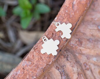 Charm, Puzzle Piece Charms, Sterling Silver 2 Piece Charm Set