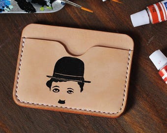 100% Handmade-stitched Vegetable Tanned Leather Charlie Chaplin Leather Card Case Leather Wallet