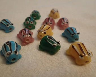 12 Lampwork Glass Frog Beads/Miked Color/Jewelry Making/Hand Blown/beading supplies