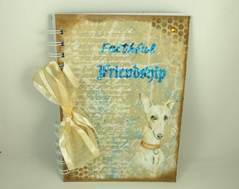 Handmade Journal Notebook,Dog, Faithful Friendship, Foiled Lettering, Notebook Journal A5 Size Writing Book, Memory Book, Greyhound Pet Book