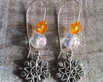 Snowflakes earrings large Silver Orange ties