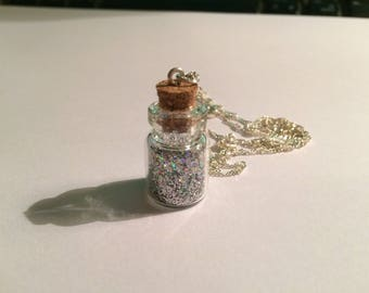 Vial silver chain necklace silver holographic glitter