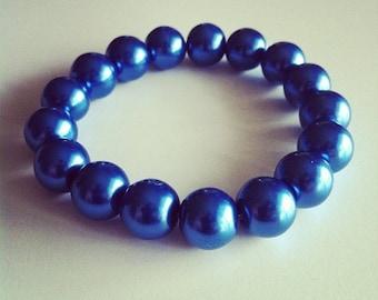 Bracelet large blue glass beads