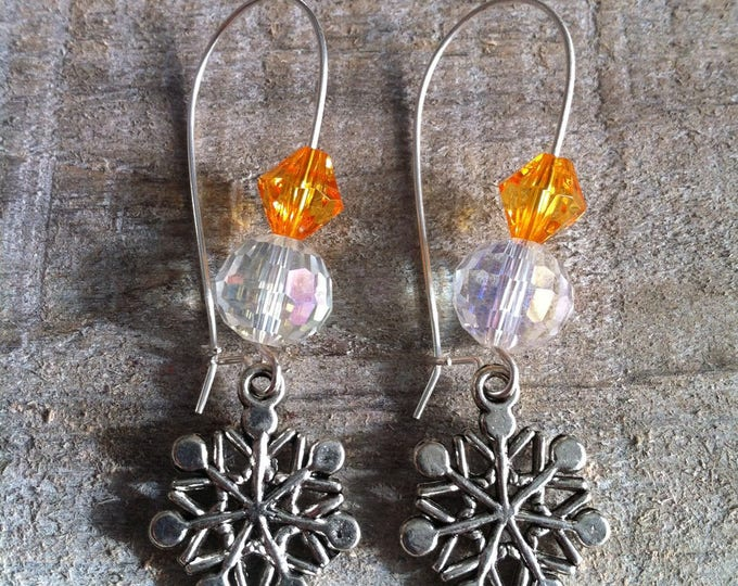 Snowflakes earrings large Silver Orange ties