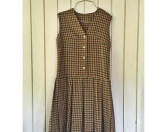 1960s Vintage Plaid Wool Pleated Drop Waist Dress // Sleeveless // Size S/M