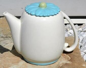Vintage Abingdon Teapot...Nice Art Deco Look with Light Blue Daisy Lid Abingdon of Illinois...Eggshell White