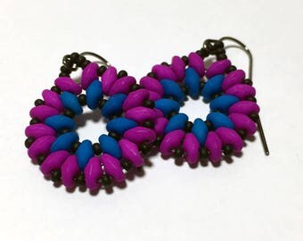 Neon Blue Earrings Neon Beaded Earrings Blue Violet Earrings Woven Drop Earrings Woven Blue Earrings SuperDuo Earrings Neon Violet Earrings