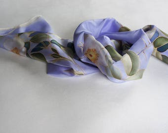 Violet silk scarf, hand painted scarves, purple scarf floral, roses accessories, spring scarf, women gift - ready to ship