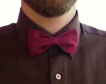 Men's clip-on BERRY bow tie, maroon clip on groomsmen necktie, pre-tied bow tie, marsala groomsmen tie, ready to ship
