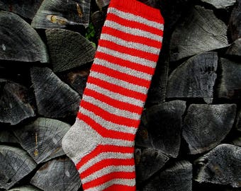 "Knit Christmas Stocking ~22"" Personalized Hand knit from Wool Grey with Red stripes"