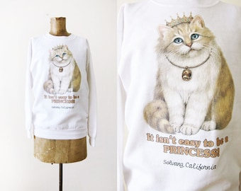 Cat Sweatshirt - Cat Sweater for Women - Crazy Cat Lady - White Fluffy Cat - Princess - Solvang California - Funny Sweatshirt - White