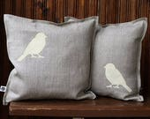 2 pcs 12x16 pillow covers, with bronze birds