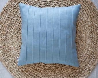 Blue pillow with lines, linen pillow, decorative pillow, throw pillow, euro sham