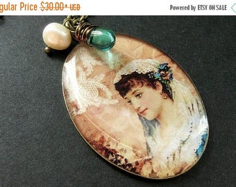 SUMMER SALE Beautiful Woman Necklace. Veiled Necklace with Teal Teardrop and Fresh Water Pearl. Handmade Jewelry.