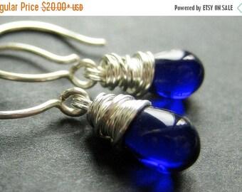 SUMMER SALE STERLING Silver Earrings - Cobalt Blue Earrings. Wire Wrapped Teardrop Earrings. Handmade Jewelry.