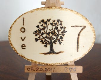 Rustic Table Numbers with Easel , Tree of Life wedding date monogram wood burned table numbers