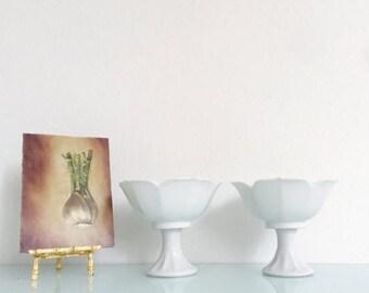 ON SALE Vintage Ceramic Pedestal Lotus Bowls