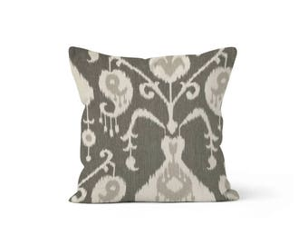 Beige Ikat Pillow Cover Java - MH Pewter Ikat - 22, 24, 26 and More Sizes - Zipper Closure- ec246