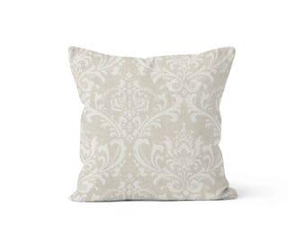 Beige Damask Pillow Cover - Traditions Cloud - Lumbar 12 14 16 18 20 22 24 26 Euro - Hidden Zipper Closure