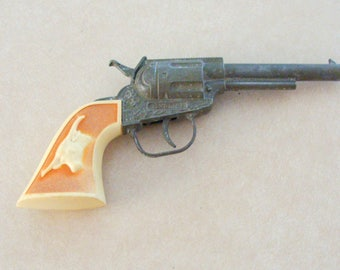 Old Hubley Gabriel Cap Gun Pistol, Great Movement, Blond Simulated Ivory Grips