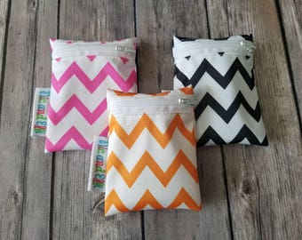 Mini Wetbag Soother Bag Set of 3 ~ Chevron Travel Size Wet Bag ~ Binkie Bag ~ Cosmetic Purse Bag