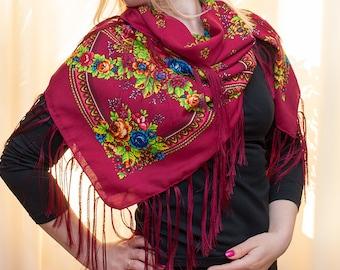 Russian shawl, burgundy, light blue scarf. Floral pink chale russe, Chic scarf, Mantón hustka. Babushka head scarf. Fringed Shawls Platok