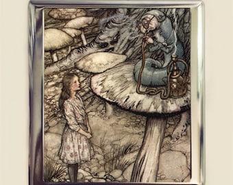 Alice in Wonderland Cigarette Case Business Card ID Holder Wallet Caterpillar Arthur Rackham Vintage Illustration Lewis Carroll