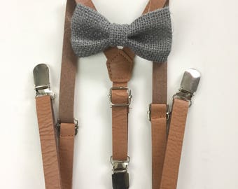 Boys Leather Suspenders Bow tie set for Baby Men Husband Father dad toddler kids Rustic Wedding Outfit Groomsmen Gift Ring bearer Page Boy