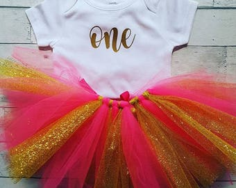 """First Birthday """"One"""" Onesie or T-shirt With Tutu"""