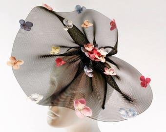 Pastel Fascinator- Hydrangea Flower Headpiece- Flower Fascinator-  Floral Headpiece-  Derby Hat- Floral Hat- Tea party fascinators