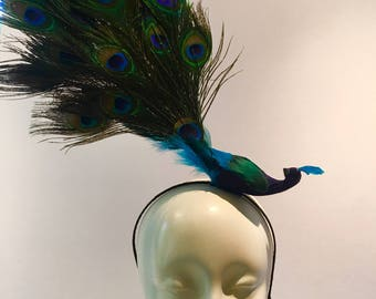 Peacock Fascinator- Bird Costume- Bird Headband- Polo Classic- Peacock Headpiece- Mad Hatter Party- Derby fascinator- Peacock Headdress