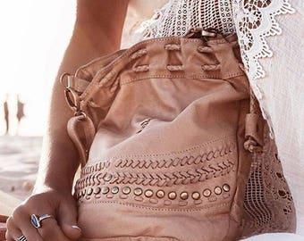 SALE. TRIBAL CHILD. Leather shoulder bag / leather crossbody bag / drawstring purse / drawstring bag / boho.