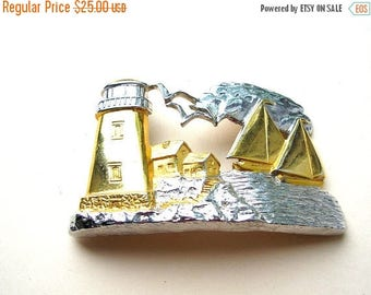 Vintage Lighthouse Buckle - Silver and Gold Tone