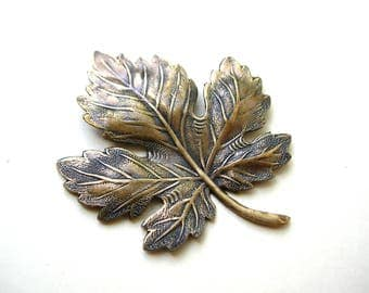 Large Brass Maple Leaf - Brass Stampings - Brass Finding