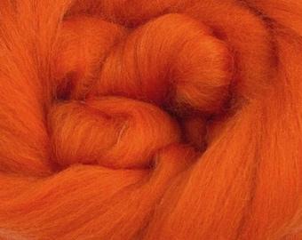 Pumpkin Merino Wool Top - 23 Mic 64's -  Needle Felting - Spinning - Wet Felting - Nuno Felting - Wet Felting