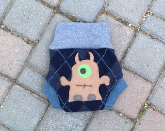 Cloth Diaper Cover, Wool Soaker, Shorties, Cloth Nappy Cover - Dark Blue Argyle Print with a Monster Applique - Size Medium